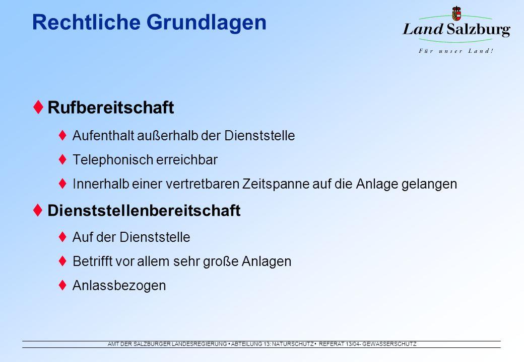 AMT DER SALZBURGER LANDESREGIERUNG ABTEILUNG 13: NATURSCHUTZ REFERAT 13/04- GEWÄSSERSCHUTZ Rufbereitschaft Aufenthalt außerhalb der Dienststelle Telep