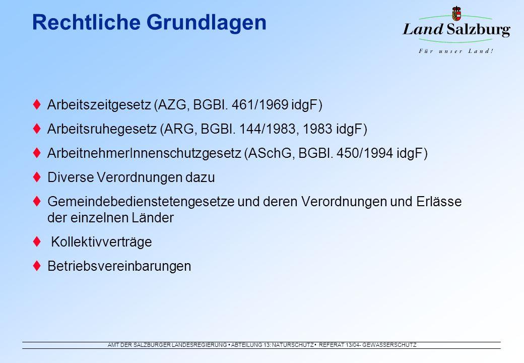 AMT DER SALZBURGER LANDESREGIERUNG ABTEILUNG 13: NATURSCHUTZ REFERAT 13/04- GEWÄSSERSCHUTZ Arbeitszeitgesetz (AZG, BGBl. 461/1969 idgF) Arbeitsruheges
