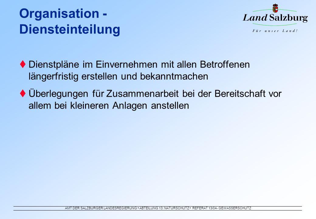 AMT DER SALZBURGER LANDESREGIERUNG ABTEILUNG 13: NATURSCHUTZ REFERAT 13/04- GEWÄSSERSCHUTZ Dienstpläne im Einvernehmen mit allen Betroffenen längerfri