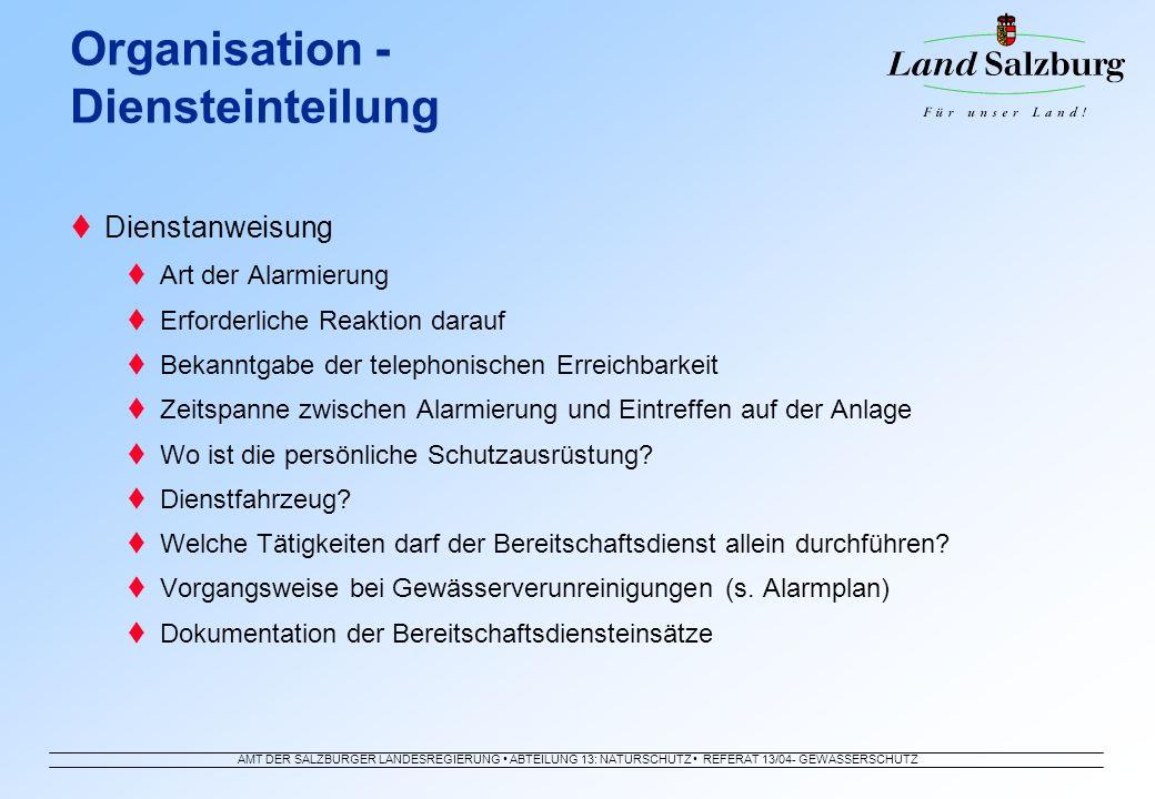 AMT DER SALZBURGER LANDESREGIERUNG ABTEILUNG 13: NATURSCHUTZ REFERAT 13/04- GEWÄSSERSCHUTZ Dienstanweisung Art der Alarmierung Erforderliche Reaktion