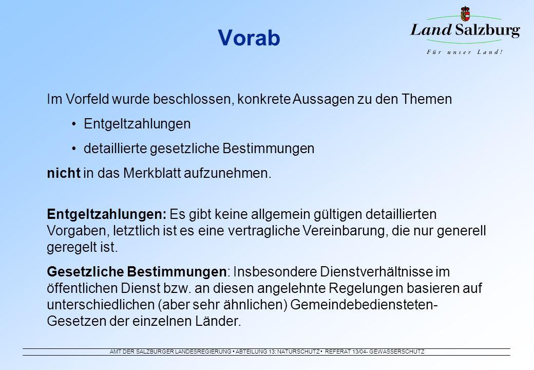 AMT DER SALZBURGER LANDESREGIERUNG ABTEILUNG 13: NATURSCHUTZ REFERAT 13/04- GEWÄSSERSCHUTZ Vorab Im Vorfeld wurde beschlossen, konkrete Aussagen zu de