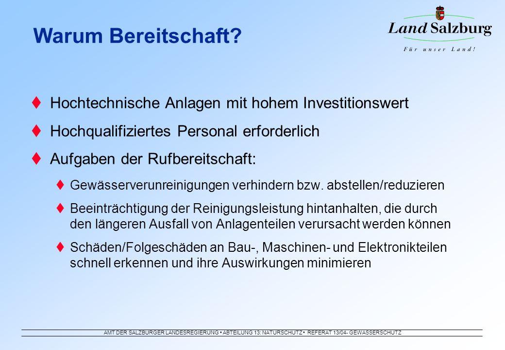 AMT DER SALZBURGER LANDESREGIERUNG ABTEILUNG 13: NATURSCHUTZ REFERAT 13/04- GEWÄSSERSCHUTZ Hochtechnische Anlagen mit hohem Investitionswert Hochquali