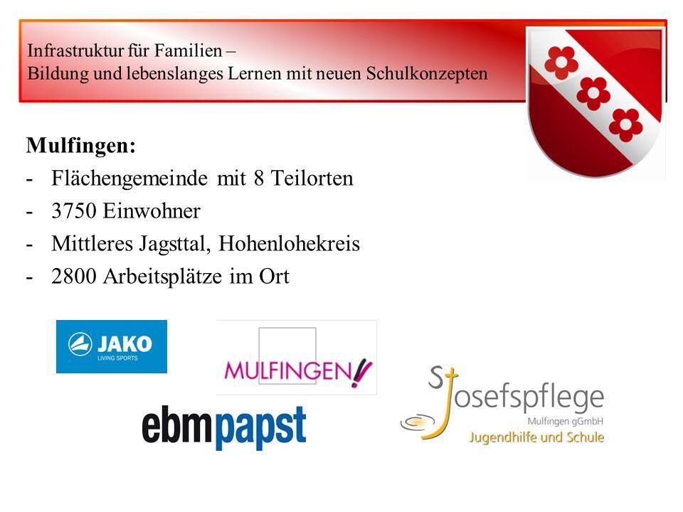 Mulfingen: -Flächengemeinde mit 8 Teilorten -3750 Einwohner -Mittleres Jagsttal, Hohenlohekreis -2800 Arbeitsplätze im Ort