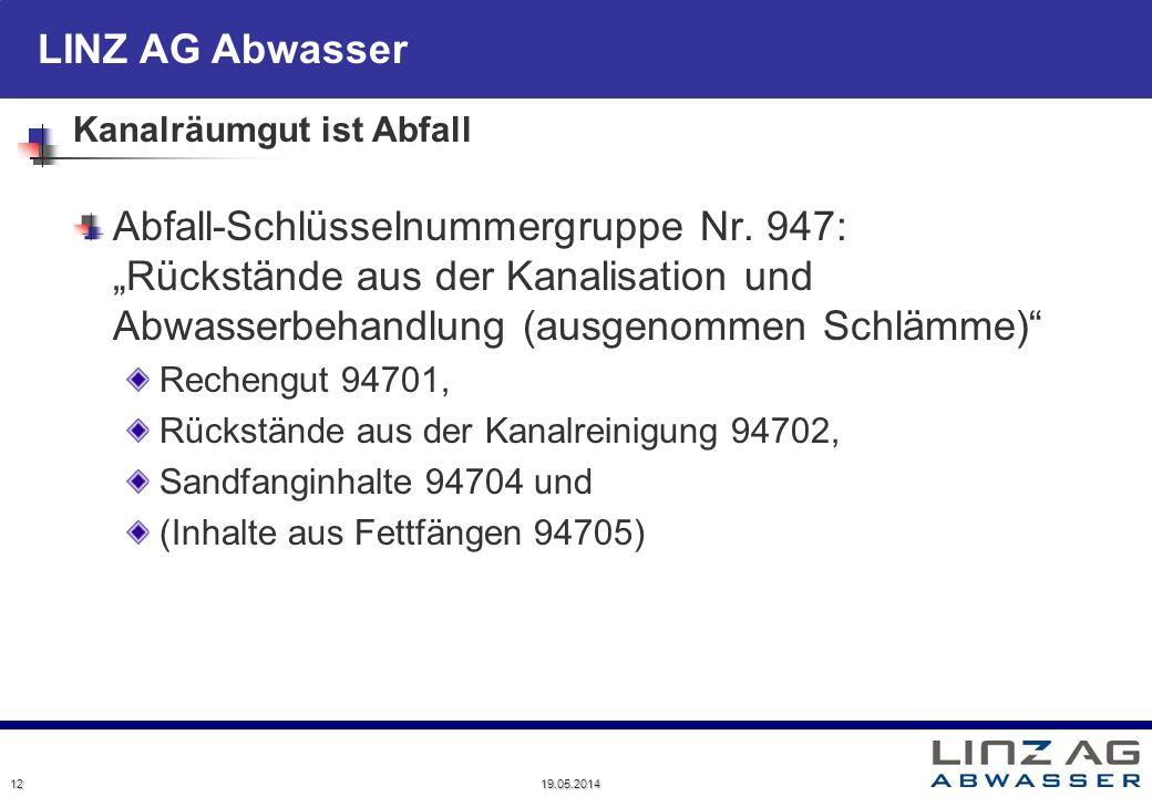LINZ AG Abwasser 19.05.2014 12 Kanalräumgut ist Abfall Abfall-Schlüsselnummergruppe Nr. 947: Rückstände aus der Kanalisation und Abwasserbehandlung (a