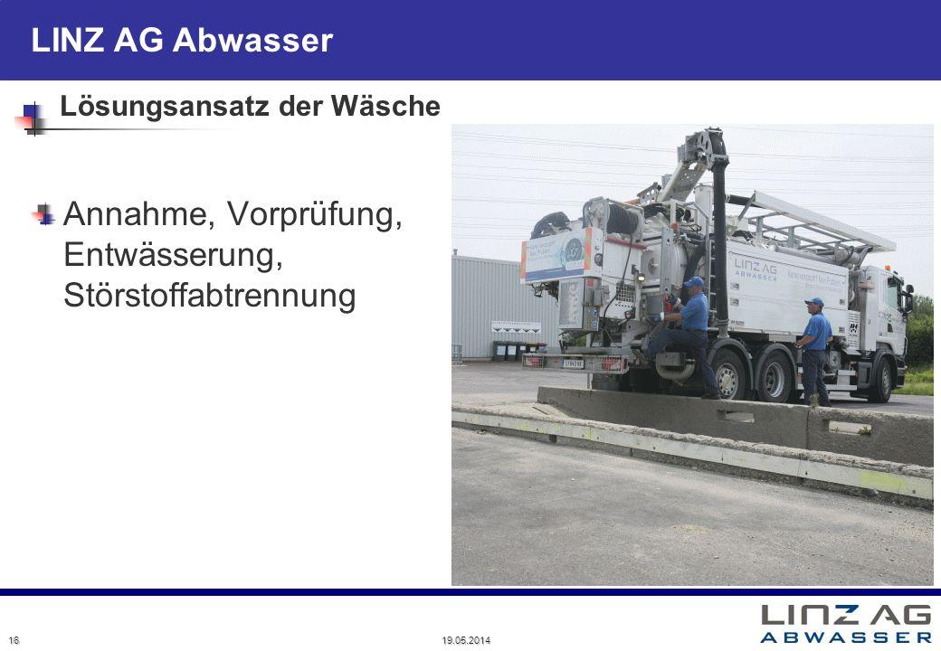 LINZ AG Abwasser Lösungsansatz der Wäsche Annahme, Vorprüfung, Entwässerung, Störstoffabtrennung 16 19.05.2014