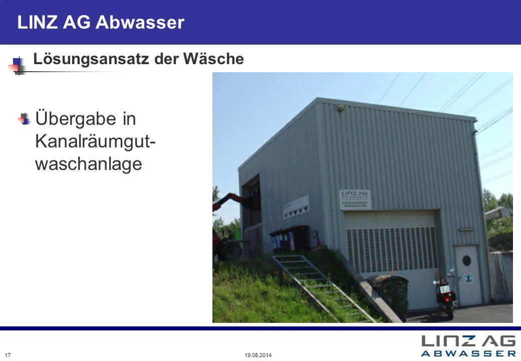 LINZ AG Abwasser Lösungsansatz der Wäsche Übergabe in Kanalräumgut- waschanlage 17 19.05.2014