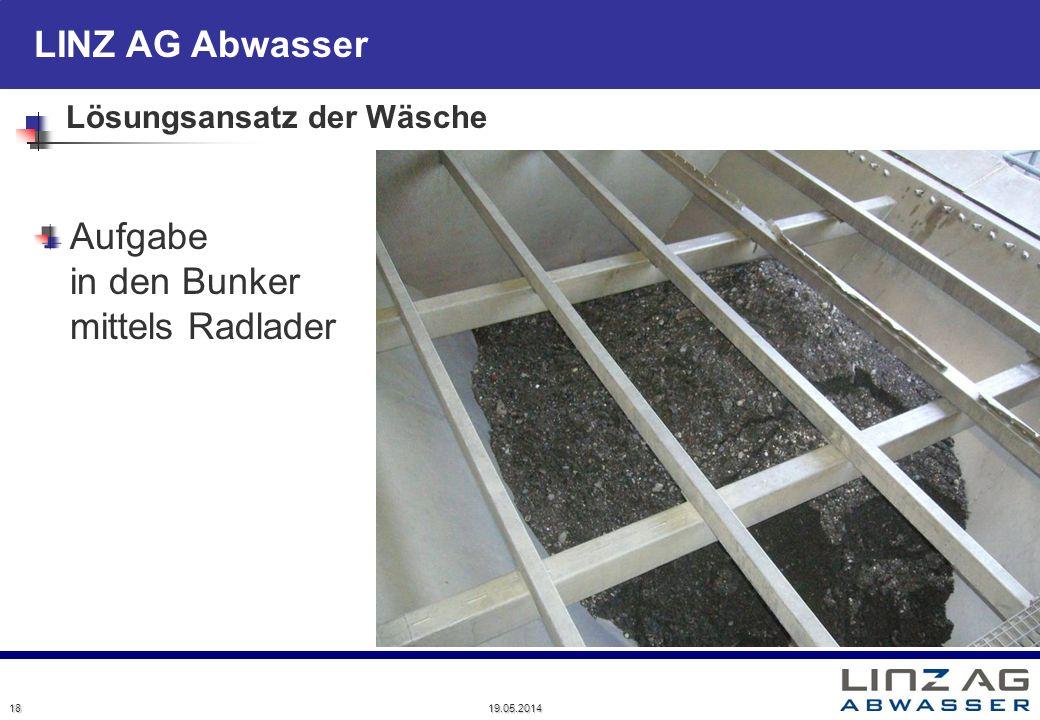 LINZ AG Abwasser Lösungsansatz der Wäsche Aufgabe in den Bunker mittels Radlader 18 19.05.2014