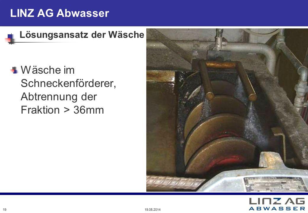 LINZ AG Abwasser Lösungsansatz der Wäsche Wäsche im Schneckenförderer, Abtrennung der Fraktion > 36mm 19 19.05.2014