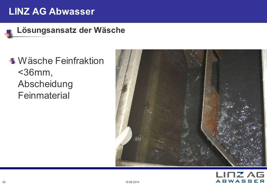 LINZ AG Abwasser Lösungsansatz der Wäsche Wäsche Feinfraktion <36mm, Abscheidung Feinmaterial 20 19.05.2014