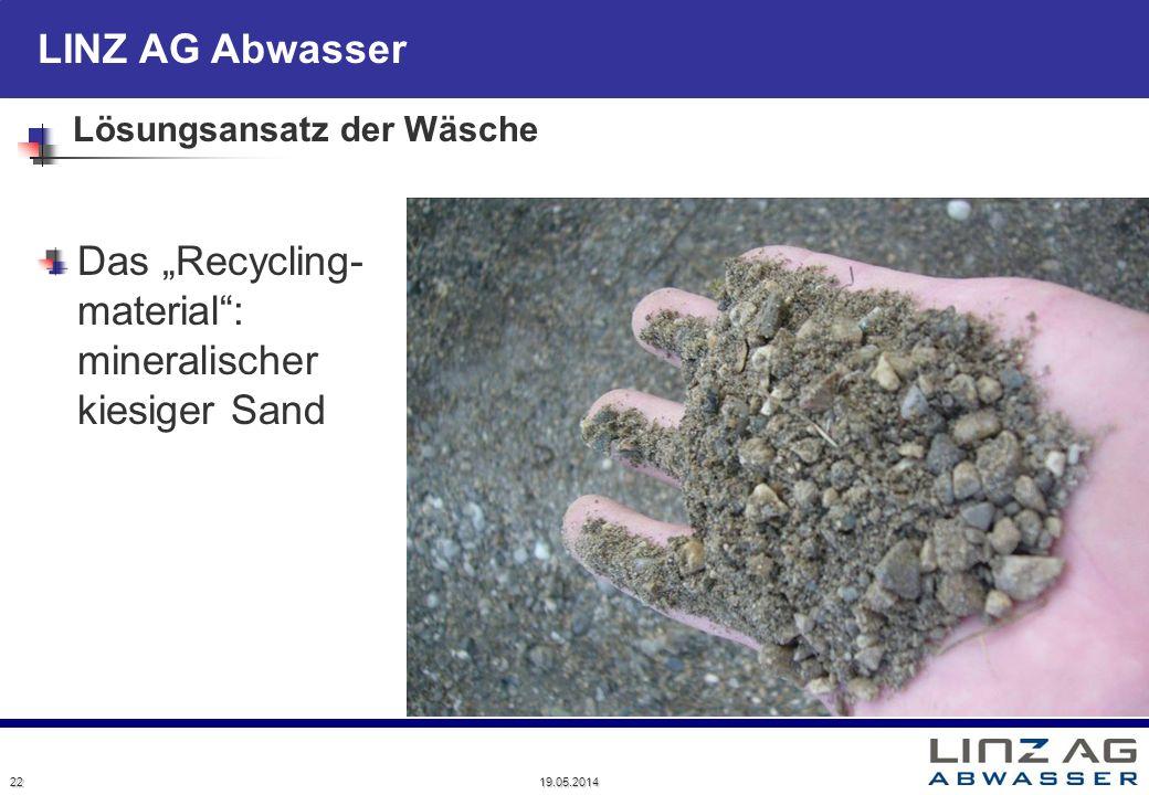 LINZ AG Abwasser Lösungsansatz der Wäsche Das Recycling- material: mineralischer kiesiger Sand 22 19.05.2014