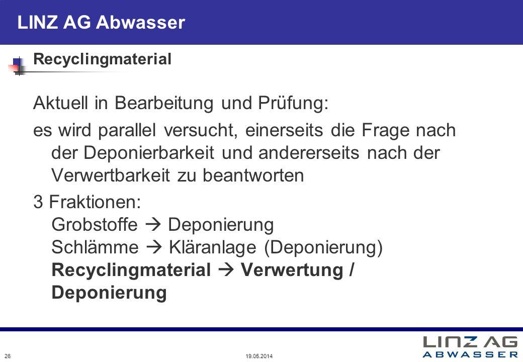LINZ AG Abwasser 19.05.2014 26 Recyclingmaterial Aktuell in Bearbeitung und Prüfung: es wird parallel versucht, einerseits die Frage nach der Deponier
