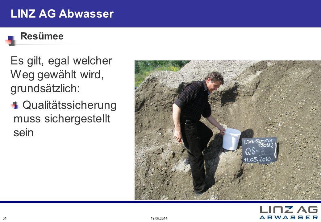LINZ AG Abwasser Resümee Es gilt, egal welcher Weg gewählt wird, grundsätzlich: Qualitätssicherung muss sichergestellt sein 31 19.05.2014