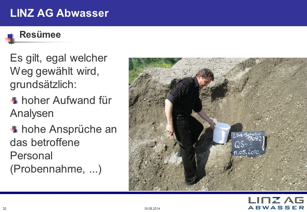 LINZ AG Abwasser Resümee Es gilt, egal welcher Weg gewählt wird, grundsätzlich: hoher Aufwand für Analysen hohe Ansprüche an das betroffene Personal (