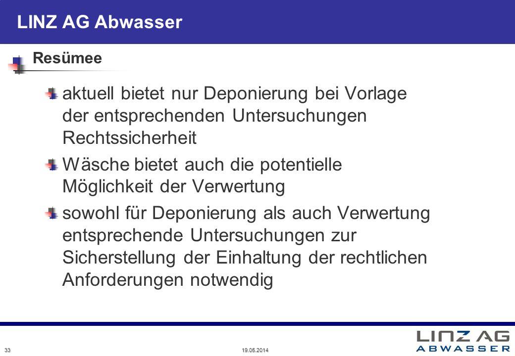 LINZ AG Abwasser Resümee aktuell bietet nur Deponierung bei Vorlage der entsprechenden Untersuchungen Rechtssicherheit Wäsche bietet auch die potentie