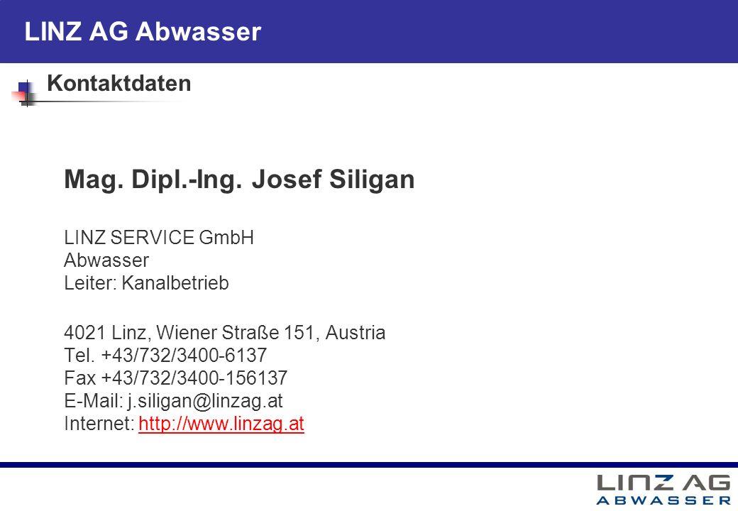 LINZ AG Abwasser Kontaktdaten Mag. Dipl.-Ing. Josef Siligan LINZ SERVICE GmbH Abwasser Leiter: Kanalbetrieb 4021 Linz, Wiener Straße 151, Austria Tel.