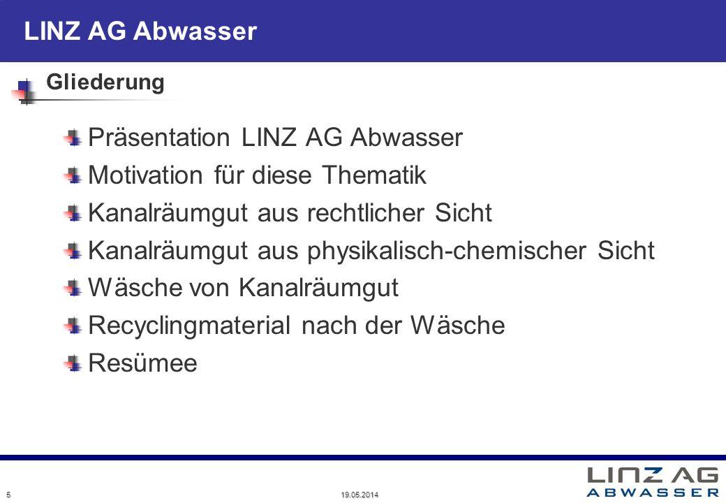 LINZ AG Abwasser 19.05.2014 5 Gliederung Präsentation LINZ AG Abwasser Motivation für diese Thematik Kanalräumgut aus rechtlicher Sicht Kanalräumgut a