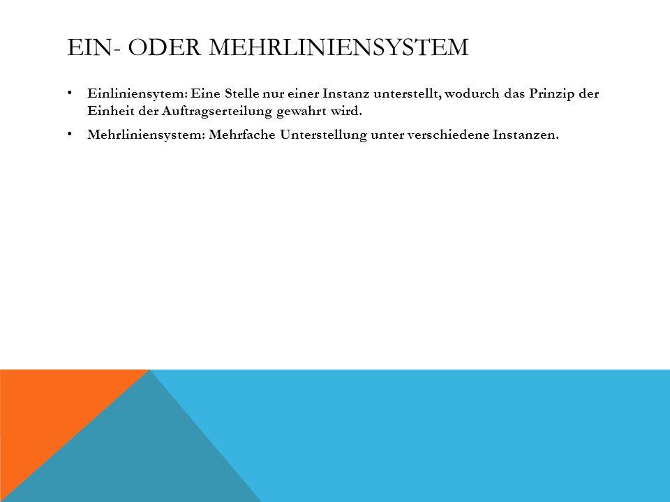 EIN- ODER MEHRLINIENSYSTEM Einliniensytem: Eine Stelle nur einer Instanz unterstellt, wodurch das Prinzip der Einheit der Auftragserteilung gewahrt wird.