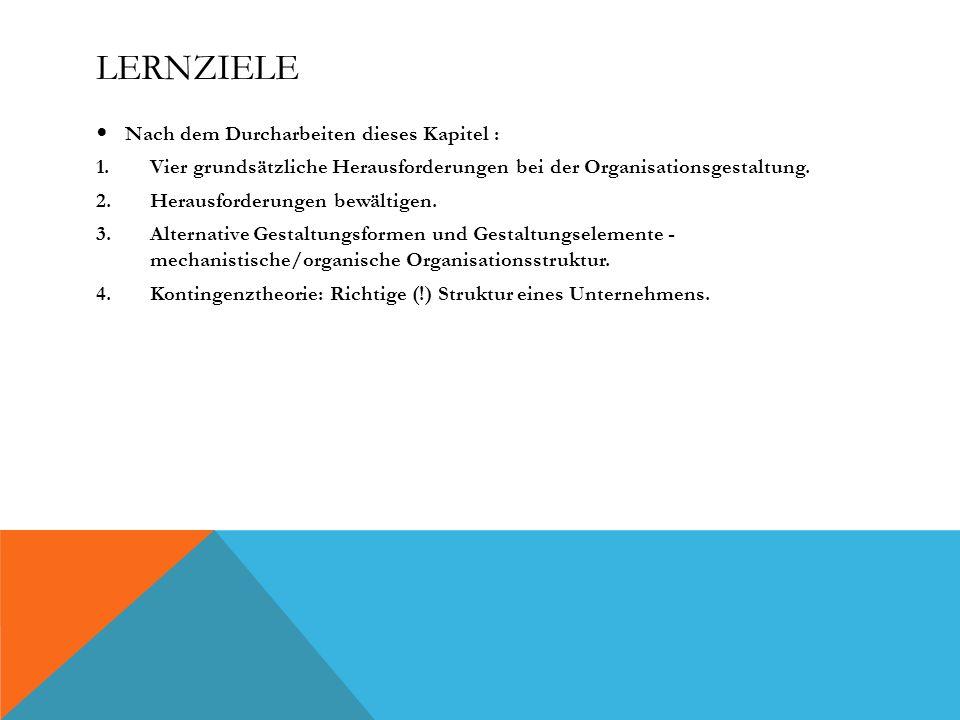 LERNZIELE Nach dem Durcharbeiten dieses Kapitel : 1.Vier grundsätzliche Herausforderungen bei der Organisationsgestaltung.