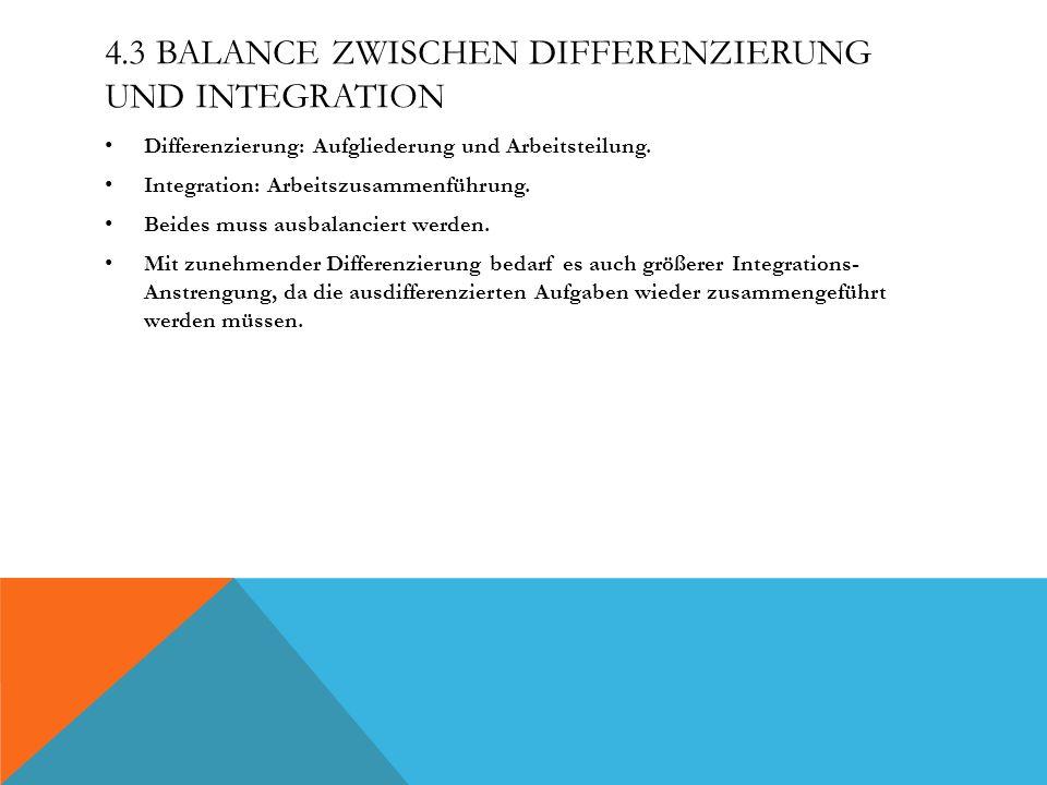 4.3 BALANCE ZWISCHEN DIFFERENZIERUNG UND INTEGRATION Differenzierung: Aufgliederung und Arbeitsteilung.