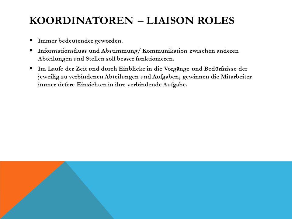 KOORDINATOREN – LIAISON ROLES Immer bedeutender geworden.