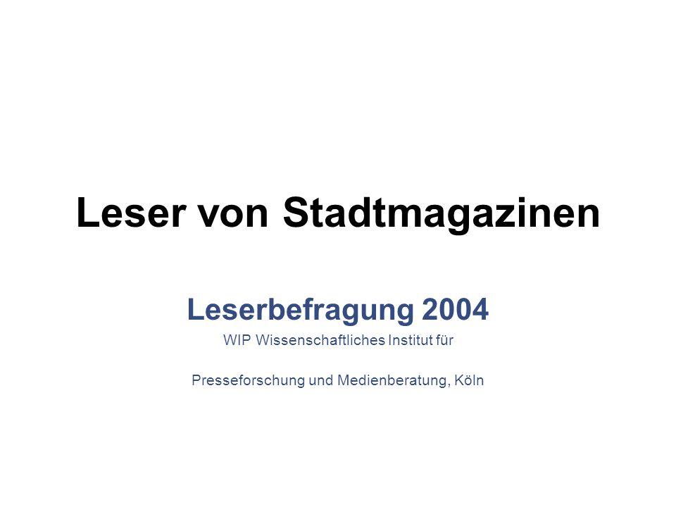Leser von Stadtmagazinen Leserbefragung 2004 WIP Wissenschaftliches Institut für Presseforschung und Medienberatung, Köln