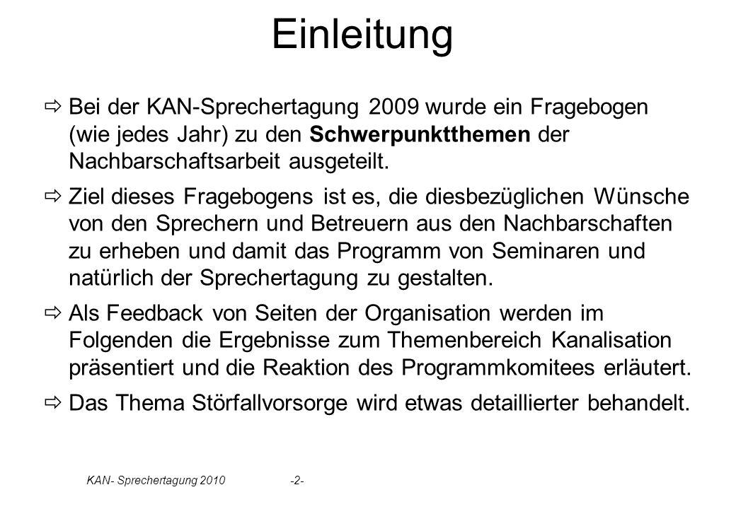 KAN- Sprechertagung 2010 -2- Einleitung Bei der KAN-Sprechertagung 2009 wurde ein Fragebogen (wie jedes Jahr) zu den Schwerpunktthemen der Nachbarschaftsarbeit ausgeteilt.