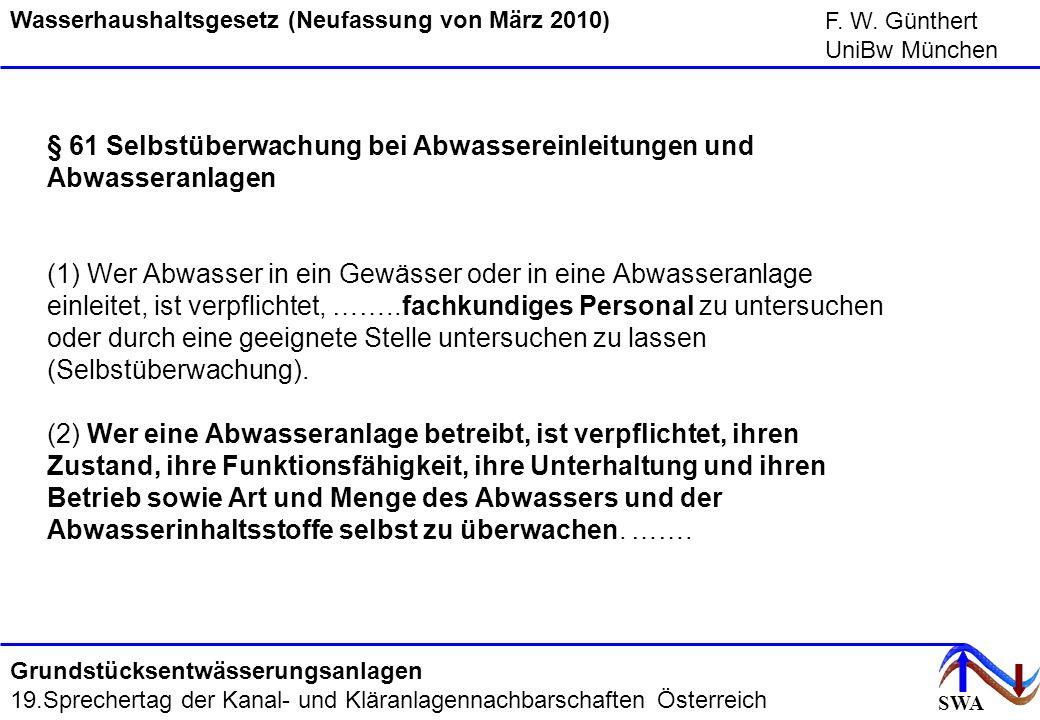SWA F. W. Günthert UniBw München Grundstücksentwässerungsanlagen 19.Sprechertag der Kanal- und Kläranlagennachbarschaften Österreich § 61 Selbstüberwa