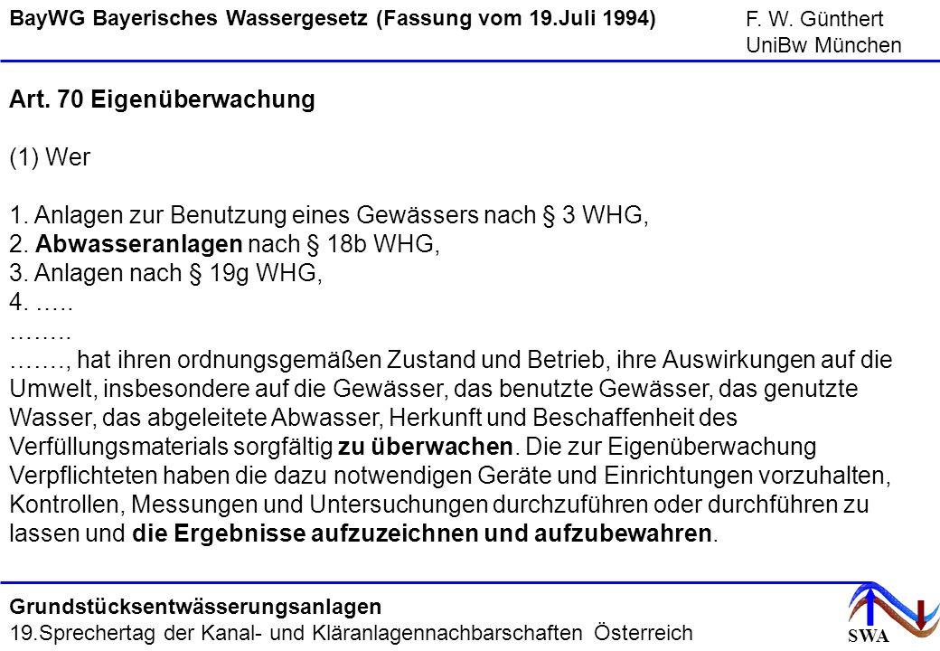 SWA F. W. Günthert UniBw München Grundstücksentwässerungsanlagen 19.Sprechertag der Kanal- und Kläranlagennachbarschaften Österreich Art. 70 Eigenüber