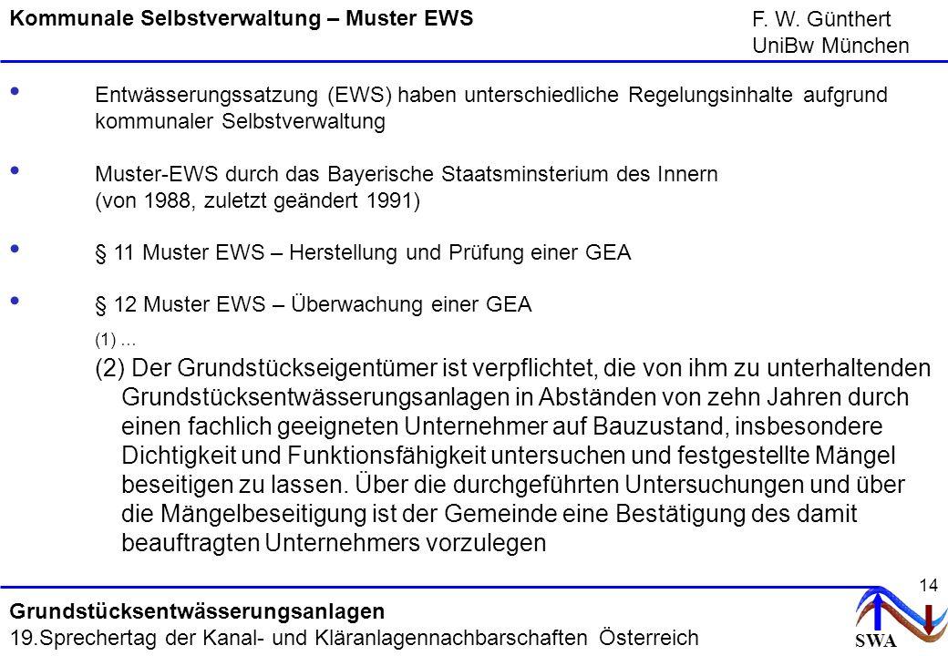 SWA F. W. Günthert UniBw München Grundstücksentwässerungsanlagen 19.Sprechertag der Kanal- und Kläranlagennachbarschaften Österreich 14 Kommunale Selb