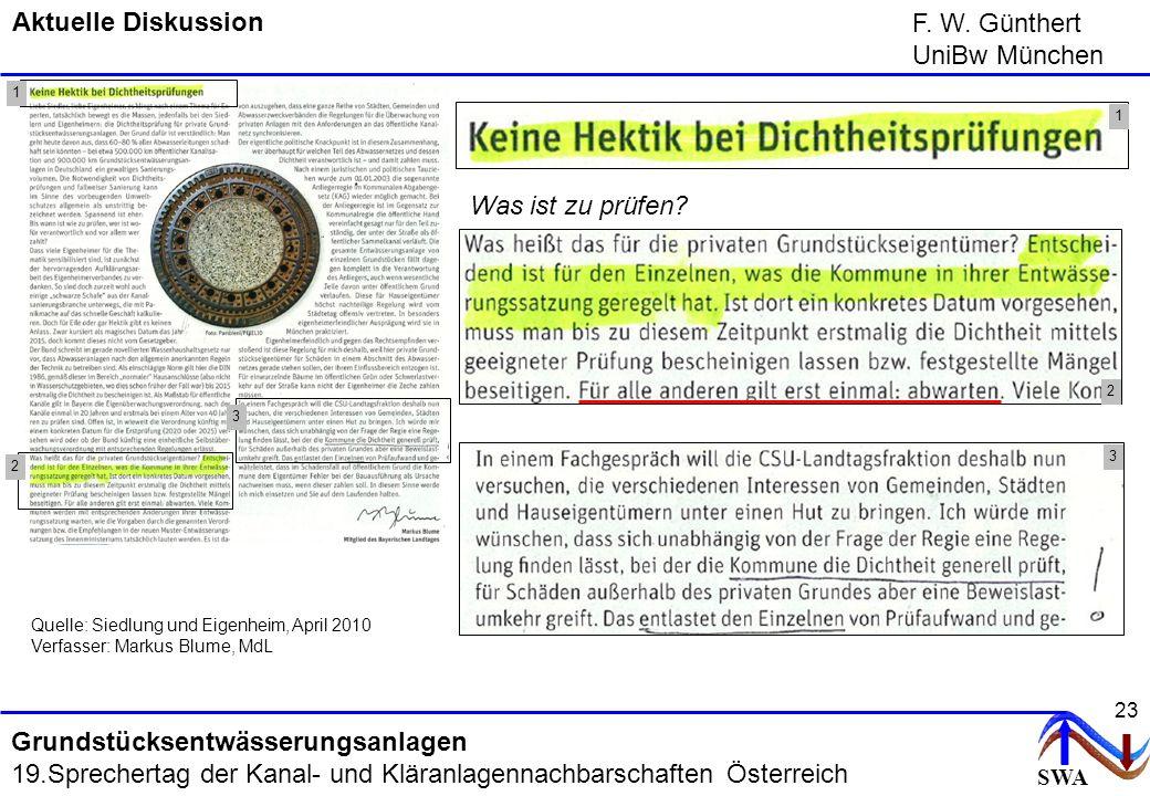 SWA F. W. Günthert UniBw München Grundstücksentwässerungsanlagen 19.Sprechertag der Kanal- und Kläranlagennachbarschaften Österreich 23 Aktuelle Disku