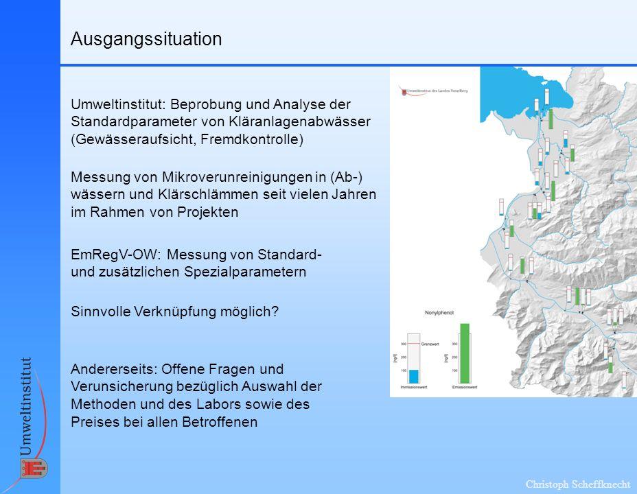 Christoph Scheffknecht Ausgangssituation Umweltinstitut: Beprobung und Analyse der Standardparameter von Kläranlagenabwässer (Gewässeraufsicht, Fremdk