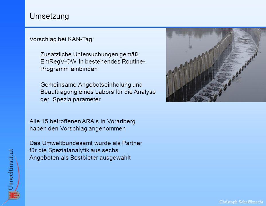 Christoph Scheffknecht Umsetzung Vorschlag bei KAN-Tag: Alle 15 betroffenen ARAs in Vorarlberg haben den Vorschlag angenommen Zusätzliche Untersuchung