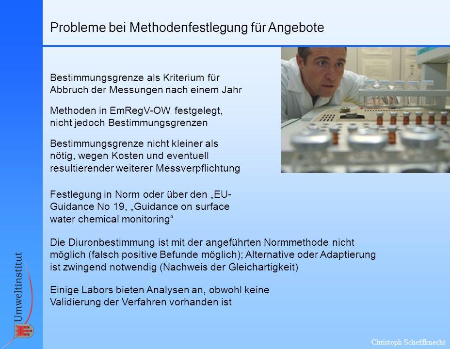 Christoph Scheffknecht Probleme bei Methodenfestlegung für Angebote Bestimmungsgrenze als Kriterium für Abbruch der Messungen nach einem Jahr Die Diur
