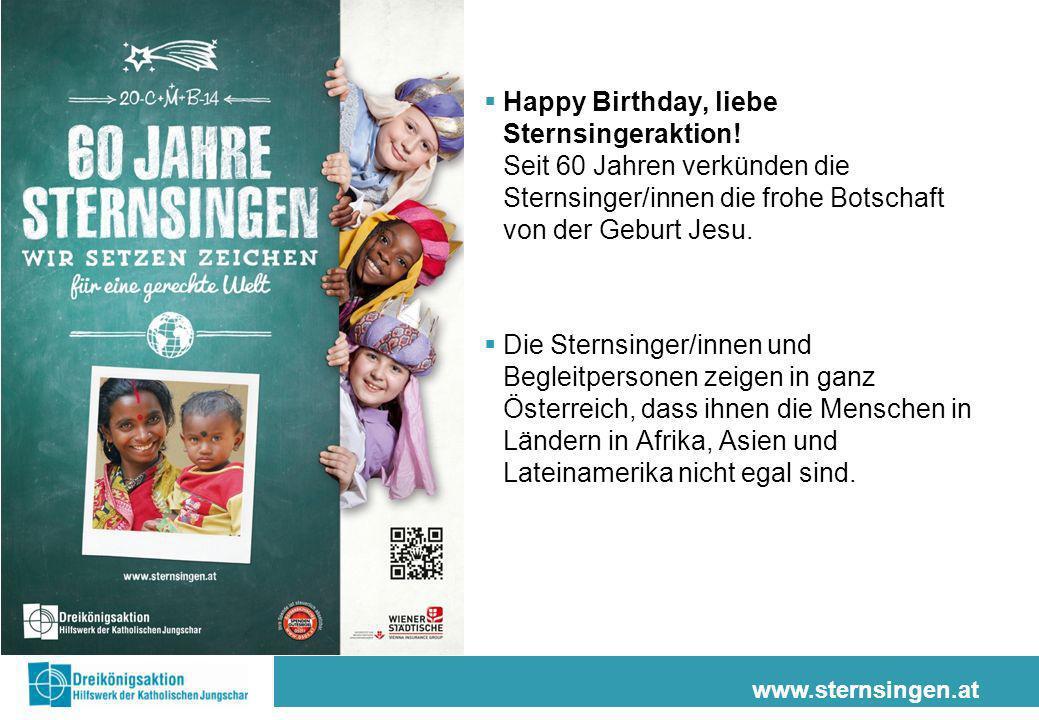 Happy Birthday, liebe Sternsingeraktion! Seit 60 Jahren verkünden die Sternsinger/innen die frohe Botschaft von der Geburt Jesu. Die Sternsinger/innen