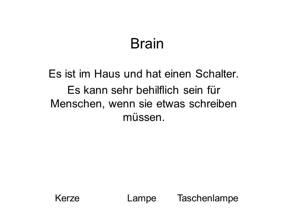 Brain Es ist im Haus und hat einen Schalter. Es kann sehr behilflich sein für Menschen, wenn sie etwas schreiben müssen. KerzeLampeTaschenlampe