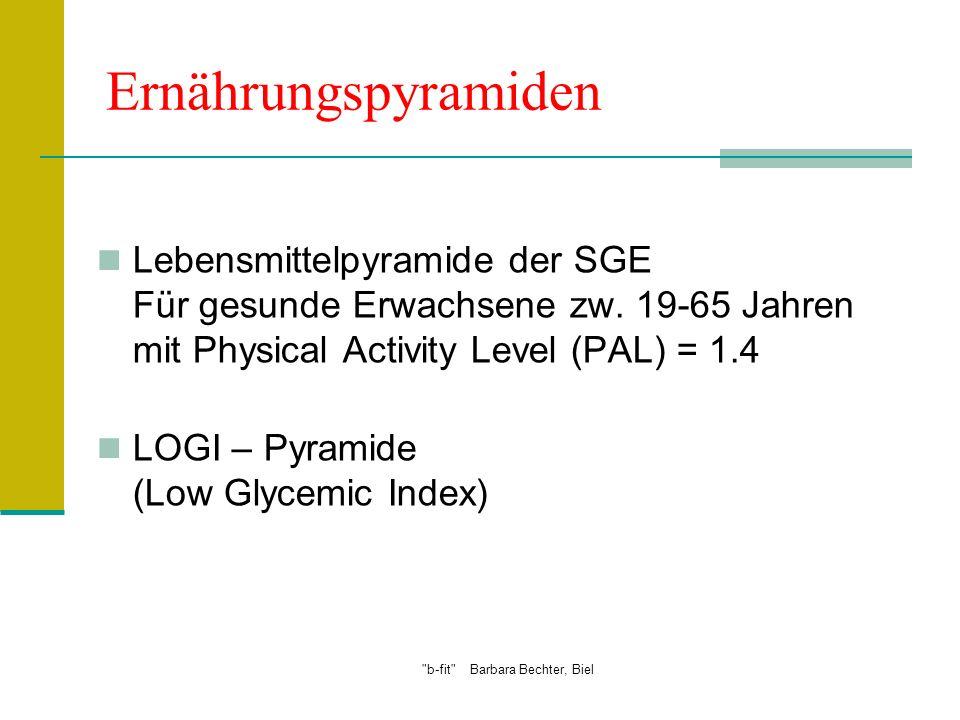 b-fit Barbara Bechter, Biel Ernährungspyramiden Lebensmittelpyramide der SGE Für gesunde Erwachsene zw.