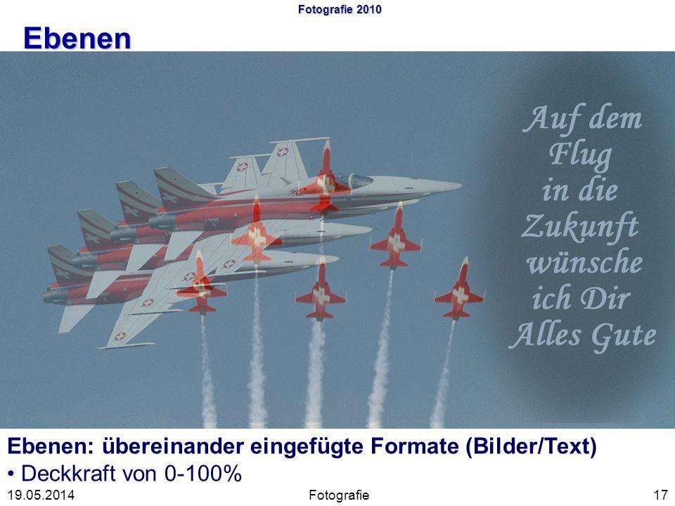 Fotografie 2010 Ebenen Fotografie1719.05.2014 Ebenen: übereinander eingefügte Formate (Bilder/Text) Deckkraft von 0-100%