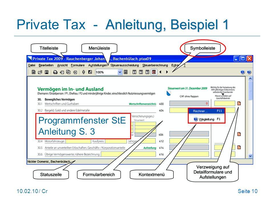 10.02.10 / CrSeite 10 Anleitung, Beispiel 1 Private Tax - Anleitung, Beispiel 1 Programmfenster StE Anleitung S.