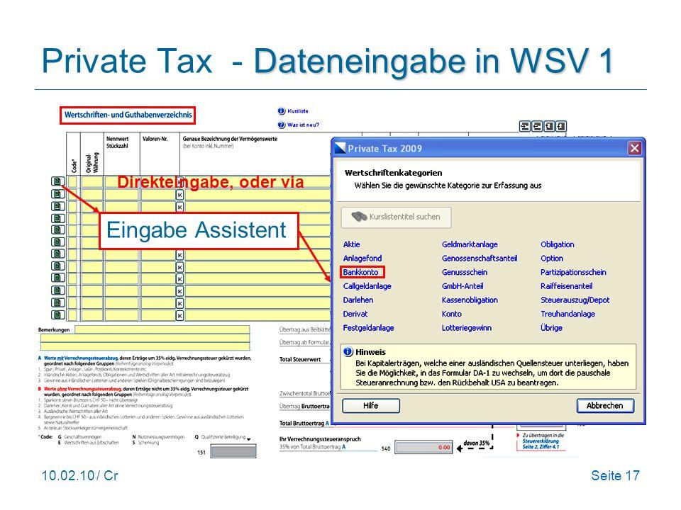 10.02.10 / CrSeite 17 Dateneingabe in WSV 1 Private Tax - Dateneingabe in WSV 1 Eingabe Assistent Direkteingabe, oder via