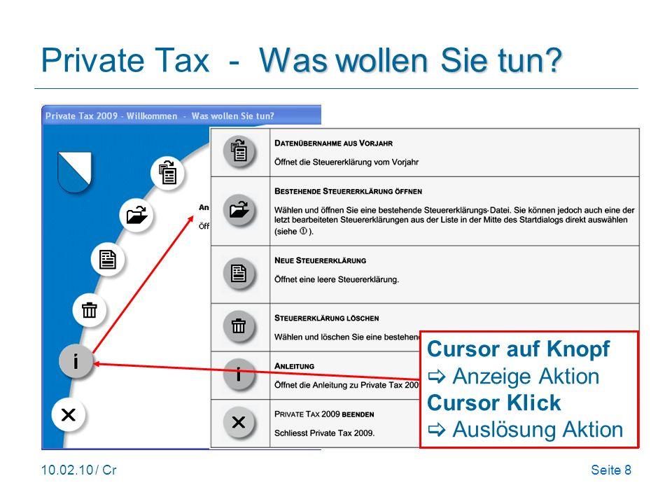 10.02.10 / CrSeite 8 Cursor auf Knopf Anzeige Aktion Was wollen Sie tun? Private Tax - Was wollen Sie tun? Cursor auf Knopf Anzeige Aktion Cursor Klic