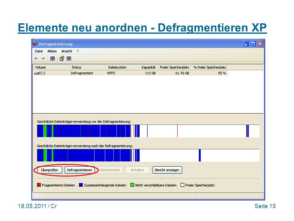 18.05.2011 / CrSeite 15 Elemente neu anordnen - Defragmentieren XP