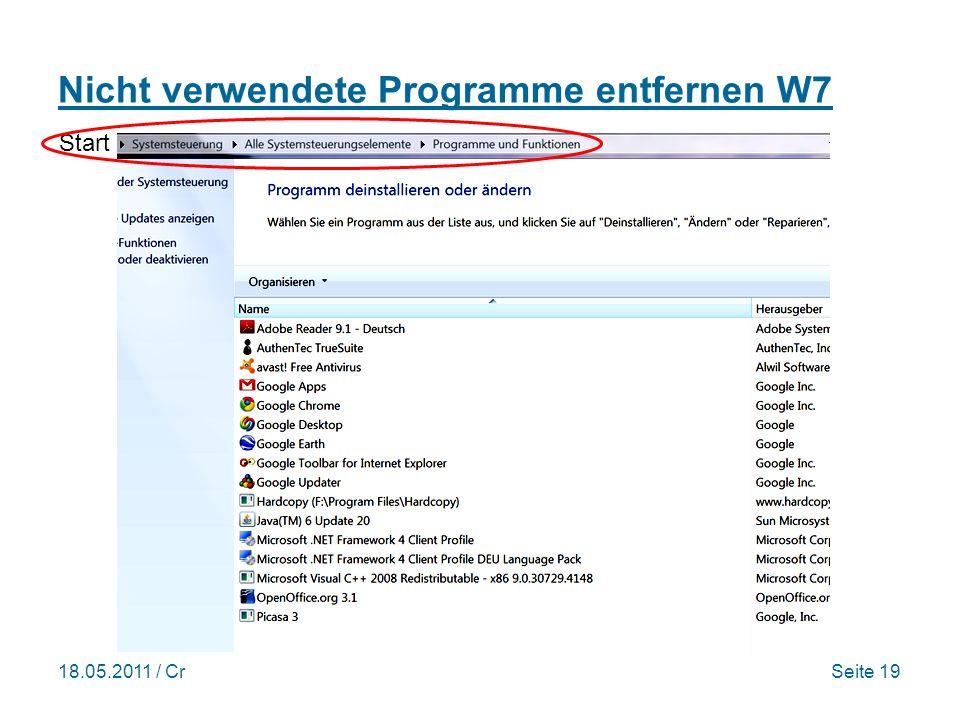 18.05.2011 / CrSeite 19 Nicht verwendete Programme entfernen W7 Start