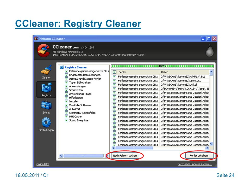 / CrSeite 24 CCleaner: Registry Cleaner