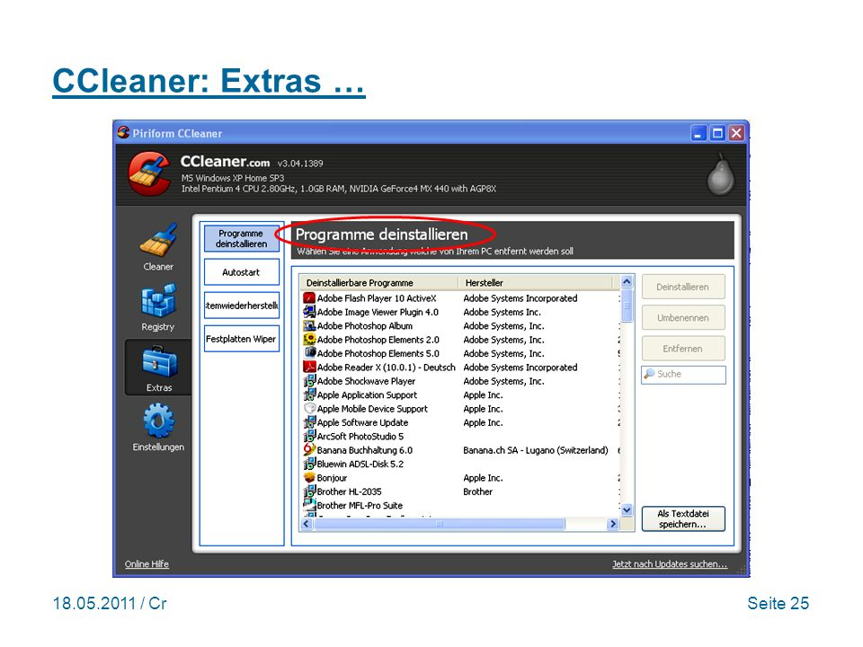 18.05.2011 / CrSeite 25 CCleaner: Extras …