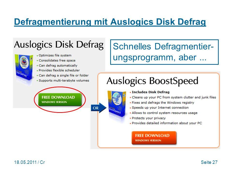 18.05.2011 / CrSeite 27 Defragmentierung mit Auslogics Disk Defrag Schnelles Defragmentier- ungsprogramm, aber...
