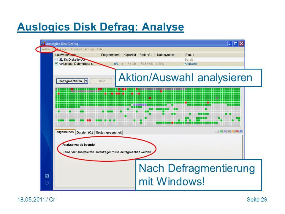 18.05.2011 / CrSeite 29 Auslogics Disk Defrag: Analyse Nach Defragmentierung mit Windows.