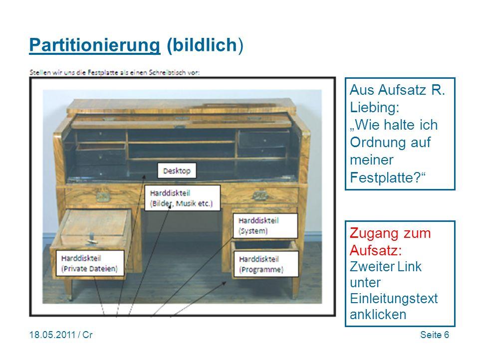 18.05.2011 / CrSeite 6 Partitionierung (bildlich) Zugang zum Aufsatz: Zweiter Link unter Einleitungstext anklicken Aus Aufsatz R.