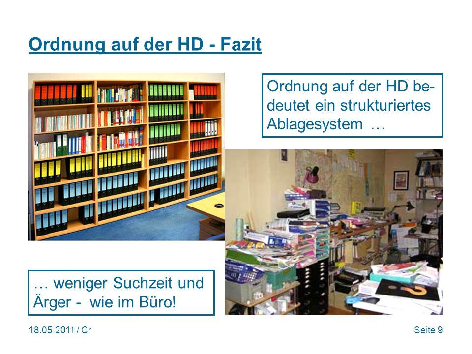 18.05.2011 / CrSeite 9 Ordnung auf der HD - Fazit Ordnung auf der HD be- deutet ein strukturiertes Ablagesystem … … weniger Suchzeit und Ärger - wie im Büro!
