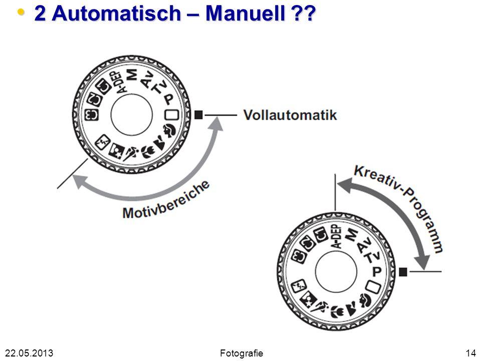 2 Automatisch – Manuell ?? 2 Automatisch – Manuell ?? 1422.05.2013Fotografie