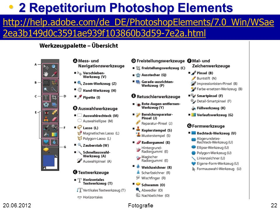 22 2 Repetitorium Photoshop Elements 2 Repetitorium Photoshop Elements 20.06.2012 http://help.adobe.com/de_DE/PhotoshopElements/7.0_Win/WSae 2ea3b149d0c3591ae939f103860b3d59-7e2a.html Fotografie